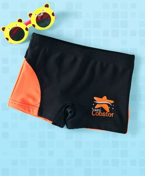Lobster Swimming Trunks Star Print - Black Orange