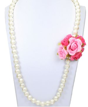 Asthetika Flower Embellished Pearl Necklace - Pink
