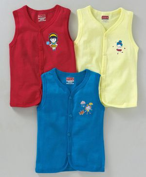 Babyhug Sleeveless Cotton Vests Pack of 3 - Red Yellow Blue