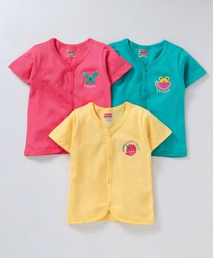 Babyhug Half Sleeves Cotton Vests Pack of 3 - Green Pink Yellow
