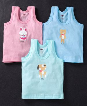 Zero Sleeveless Vests Set Of 3 Bunny Bear Dog Print (Color May Vary)
