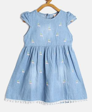 Kids On Board Cherry Embroidered Cap Sleeves Dress - Blue