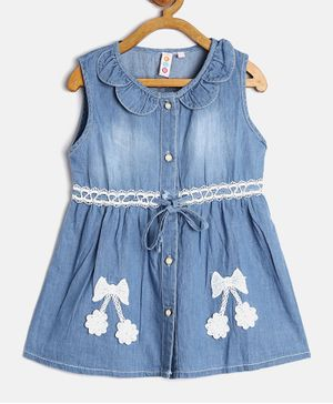 Kids On Board Bow Applique Sleeveless Front Open Dress - Blue