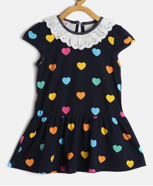 Kids On Board Heart Print Peplum Style Cap Sleeves Dress - Black