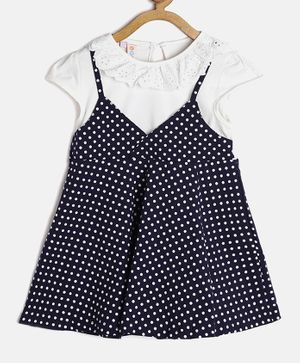 Kids On Board Polka Dot Print Cap Sleeves Dress - Dark Blue