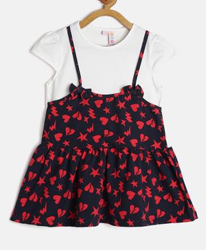 Kids On Board Stars & Hearts Print Cap Sleeves Dress - Navy
