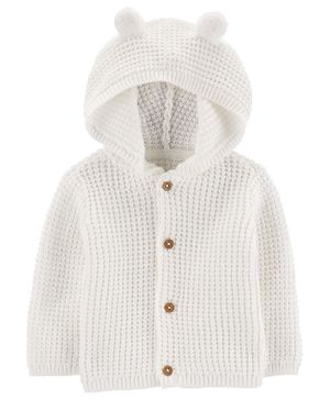 Carter's Hooded Cardigan - White