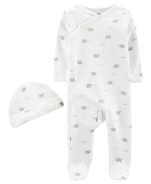 Carter's 2-Piece Cap & Side-Snap Sleep & Play Set - White