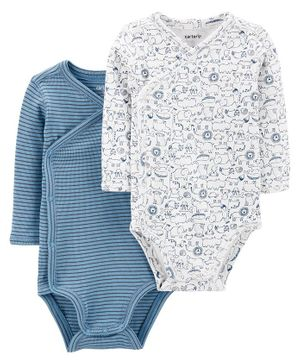 Carter's 2-Pack Side-Snap Bodysuits - Blue White