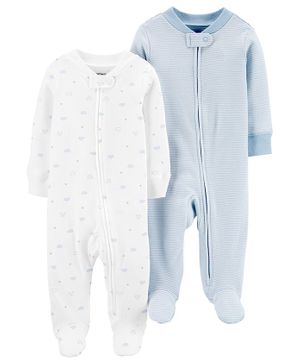 Carter's 2-Pack Zip-Up Cotton Sleep & Plays -  White Blue