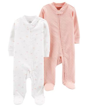 Carter's 2-Pack Cotton Zip-Up Sleep & Plays - Pink White