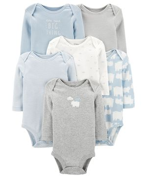 Carter's 6-Pack Polar Bear Original Bodysuits - Multicolor