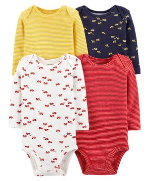 Carter's 4-Pack Long-Sleeve Original Bodysuits - Multicolour