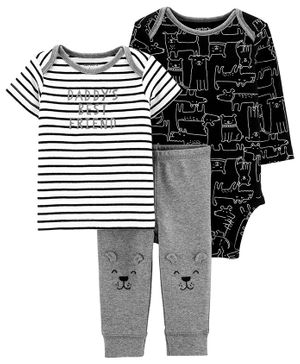 Carter's 3 - Piece Dog Little Character Set - Grey Black & White