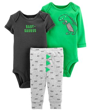 Carter's 3 - Piece Dinosaur Little Character Set - Green & Grey