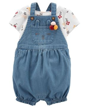 Carter's 2-Piece Floral Tee & Denim Shortalls Set - Grey