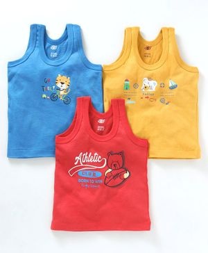 Zero Sleeveless Vests Tiger & Bear Print Pack of 3 - Blue Yellow & Red