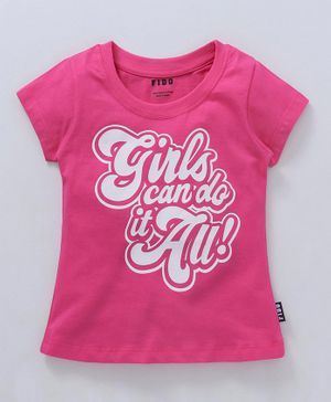 Fido Cap Sleeves Top Girls Print - Rose Pink