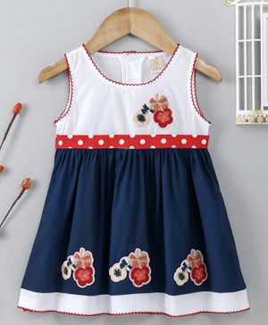 ABQ Sleeveless Frock Floral Embroidered - Navy