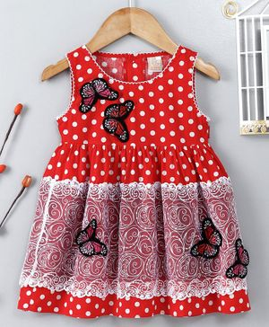 ABQ Sleeveless Frock Butterfly Embroidered - Light Red