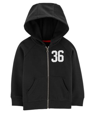 Carter's Zip-Up Fleece-Lined Hoodie - Black