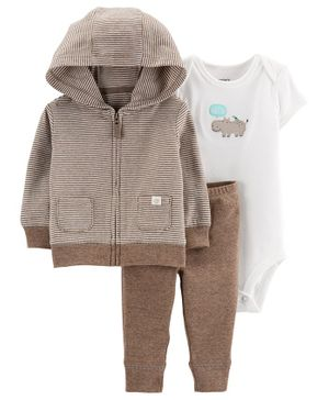 Carter's 3-Piece Hippo Little Jacket Set - Brown