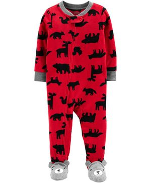 Carter's 1-Piece Woodland Creatures Fleece Footie PJs - Red