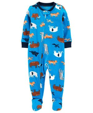Carter's 1-Piece Animals Fleece Footie PJs - Blue