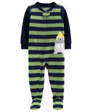 Carter's 1-Piece Walrus Fleece Footie PJs - Green Navy Blue