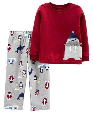 Carter's 2-Piece Walrus Fleece PJs - Red Grey