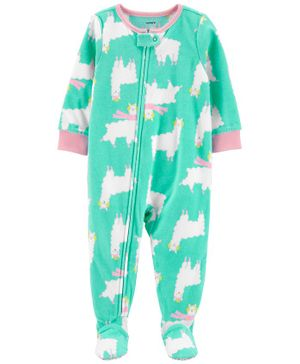 Carter's 1-Piece Llama Fleece Footie PJs - Blue