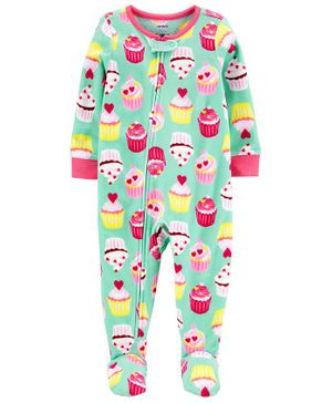 Carter's 1-Piece Cupcake Fleece Footie PJs - Sea Green