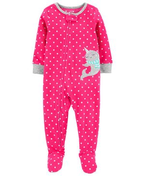 Carter's 1-Piece Narwhal Fleece Footie PJs - Pink