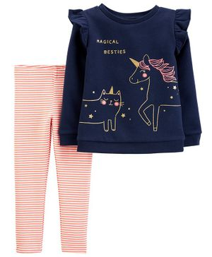 Carter's 2-Piece Unicorn Fleece Top & Striped Legging Set - Navy Blue