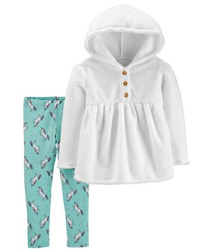 Carter's 2-Piece Fuzzy Hooded Top & Unicorn Legging Set - Green