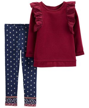 Carter's 2-Piece Ruffle Top & Floral Legging Set - Maroon