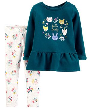 Carter's 2-Piece Fleece Peplum Top & Floral Legging Set - Green