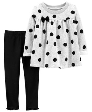 Carter's 2-Piece Polka Dot Fleece Top & Legging Set - Grey Black