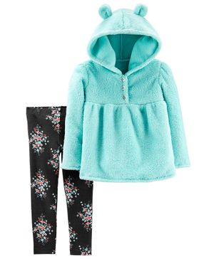 Carter's 2-Piece Fuzzy Hooded Top & Floral Legging Set - Sea Green Black