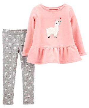 Carter's 2-Piece Llama Fleece Peplum Top & Legging Set - Pink