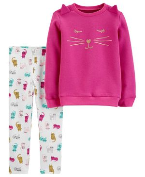 Carter's 2-Piece Glitter Fleece Top & Cat Legging Set - Fuchsia