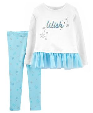 Carter's 2-Piece Wish Peplum Top & Snowflake Legging Set - White