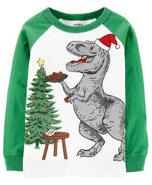 Carter's Dinosaur Santa Layered-Look Jersey Tee - White Green