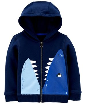 Carter's Shark Zip-Up French Terry Hoodie - Navy Blue