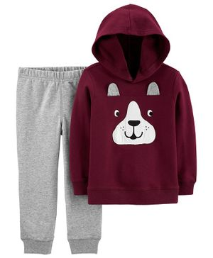 Carter's 2-Piece French Bulldog Hoodie & Jogger Set - Maroon
