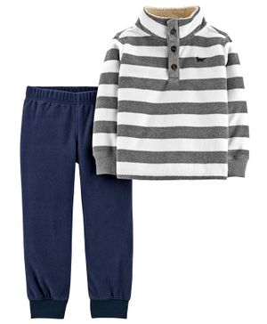 Carter's 2-Piece Striped Fleece Pullover & Jogger Set - Grey