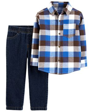Carter's 2-Piece Plaid Button-Front Shirt & Denim Pant Set - Multicolor