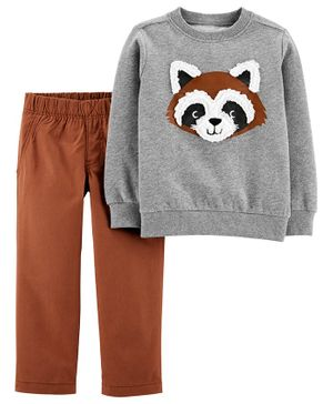 Carter's 2-Piece Raccoon Fleece Top & Pant Set - Brown