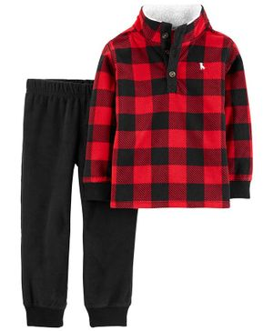 Carter's 2-Piece Buffalo Check Fleece Pullover & Jogger Set - Multicolor