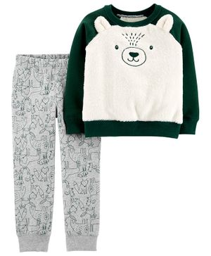Carter's 2-Piece Fuzzy Bear Top & Fleece Jogger Set - Multicolor